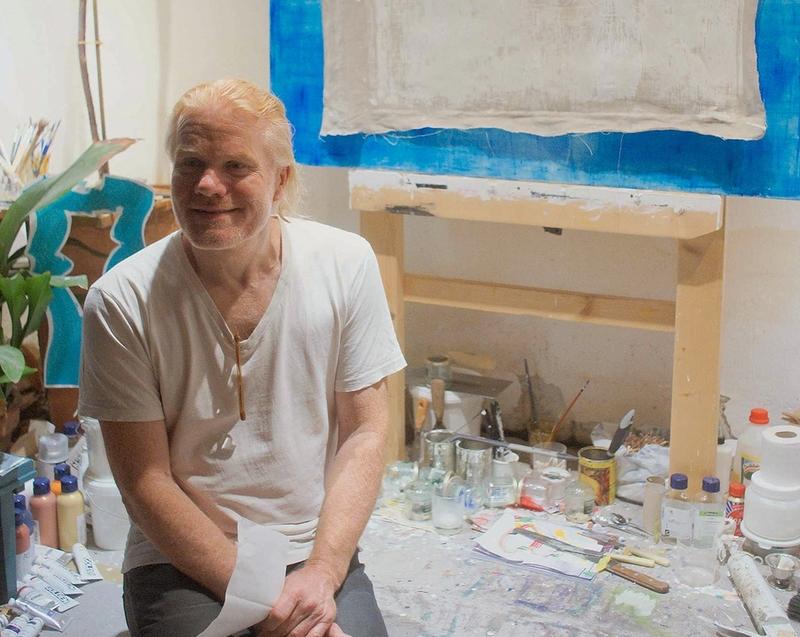 Visual Artist Ege Arp-Hansen in his studio